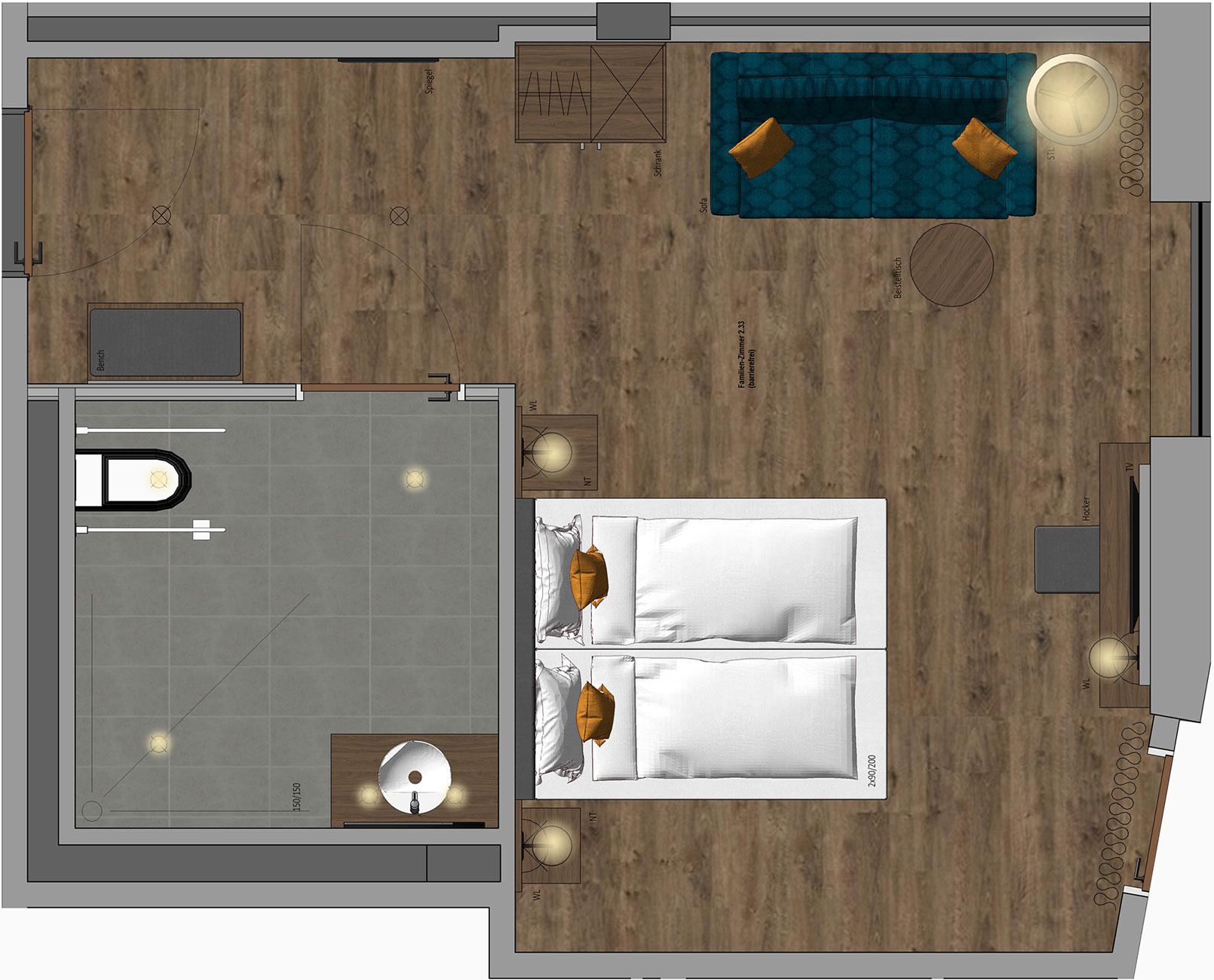 Family Room barrier-free Floor Plan