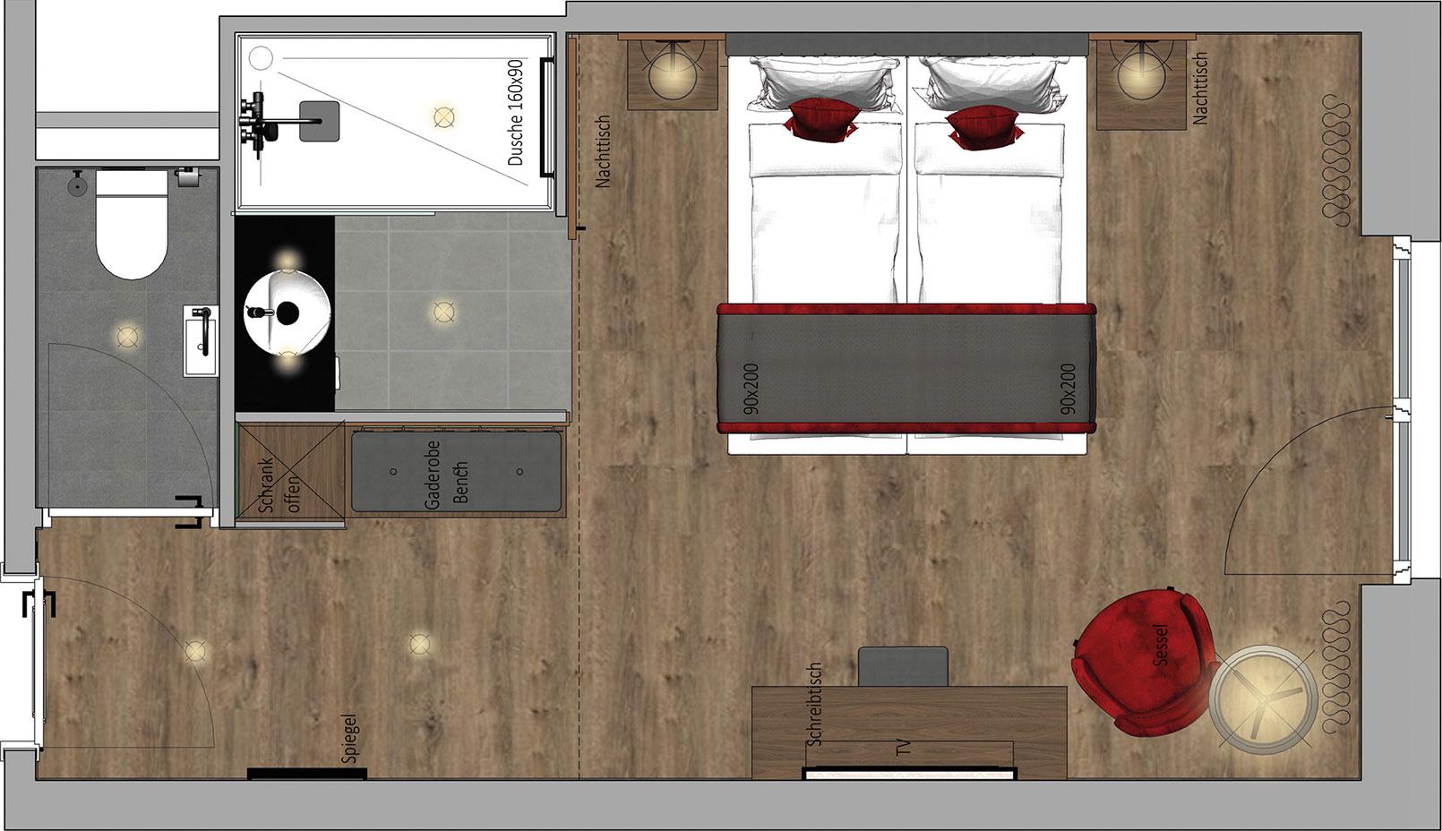 Karls Hotel Superior Room Floor Plan
